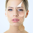 Leinwanddruck Bild - anti-aging concept, portrait of beautiful woman with problem and