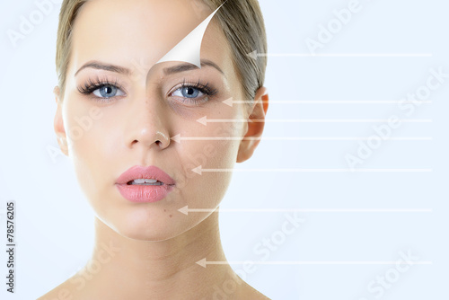 anti-aging concept, portrait of beautiful woman with problem and - 78576205