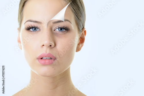 anti-aging concept, portrait of beautiful woman with problem and - 78576211