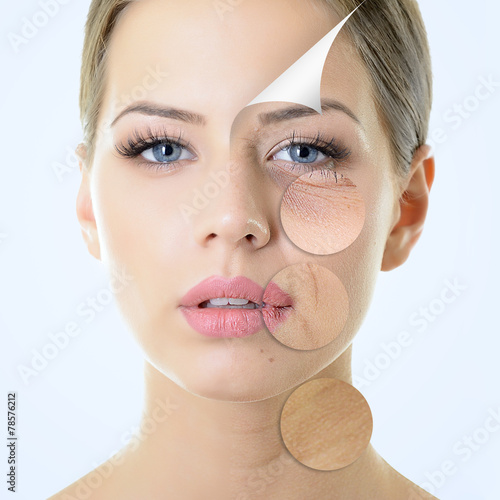 anti-aging concept, portrait of beautiful woman with problem and - 78576212