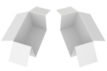 white cardboard box slice on two part