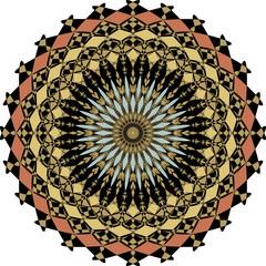 Geometric symmetric colorful rosette in art deco style