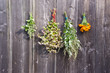 medical herbs and buckwheat bunch on wooden barn wall