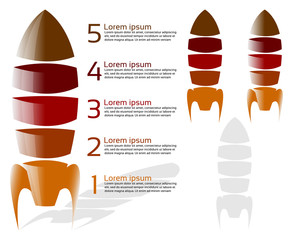 Five stage rocket infographic