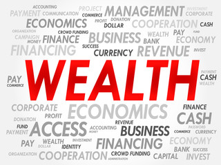 WEALTH word cloud, business concept