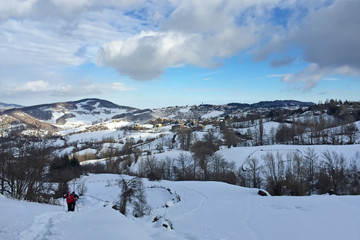 Snowshoeing on the alps in winter