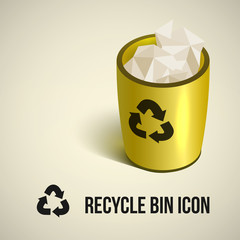 realistic yellow recycle bin icon