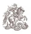 Постер, плакат: Рыцарь убивающий дракона графика
