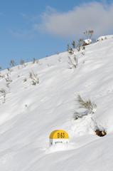 borne kilométrique sous la neige