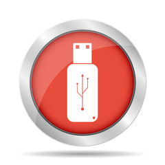usb icon - vector  flat button