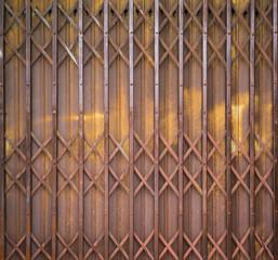 Old Metal Folding Door with rusty