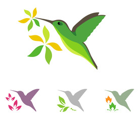 Hummingbird and flower icons