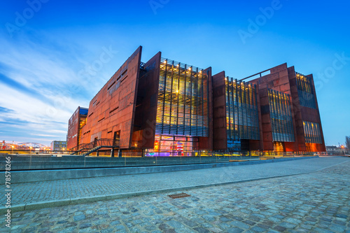 Rusty steel building of European Solidarity Museum in Gdansk - 78578266