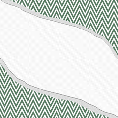 Green and White Chevron  Zigzag Frame with Torn Background