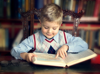 boy reading a book in the home library