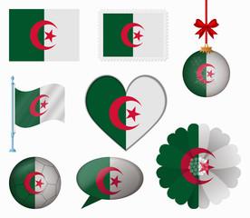 Algeria flag set of 8 items vector