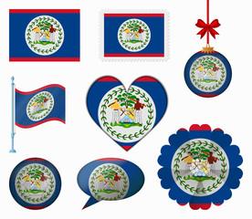Belize flag set of 8 items vector