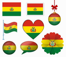 Bolivia flag set of 8 items vector