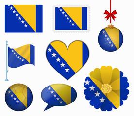 Bosnia and Herzegovina flag set of 8 items vector