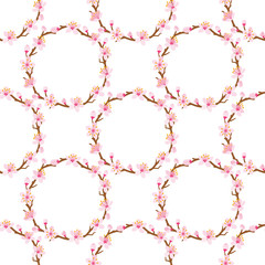 Cherry blossom twig Circle-Seamless pattern