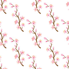 Cherry blossom twig -Seamless pattern