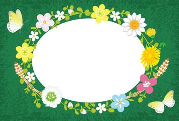 Spring Flower Wreath-Ellipse Green