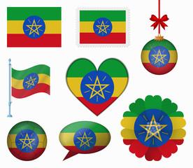 Ethiopia flag set of 8 items vector