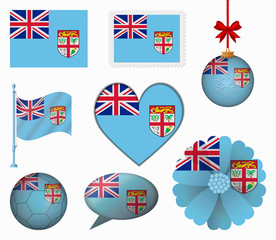 Fiji flag set of 8 items vector