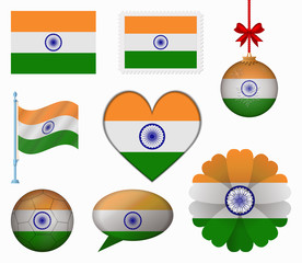 India flag set of 8 items vector
