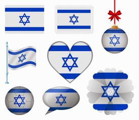 Israel flag set of 8 items vector