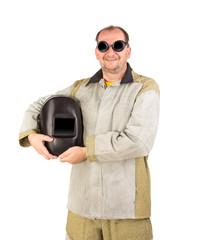 Welder in workwear suit
