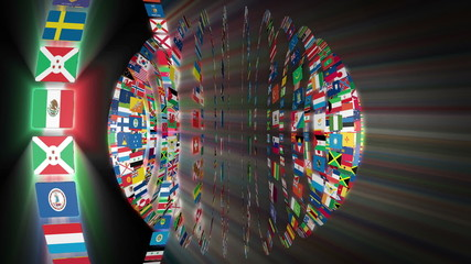Flags of the World sphere, shining, black