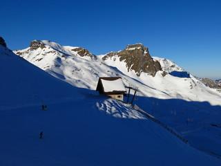 Morning scene in the Flumserberg ski area