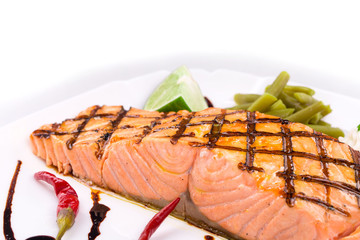 Grilled salmon fish fillet.