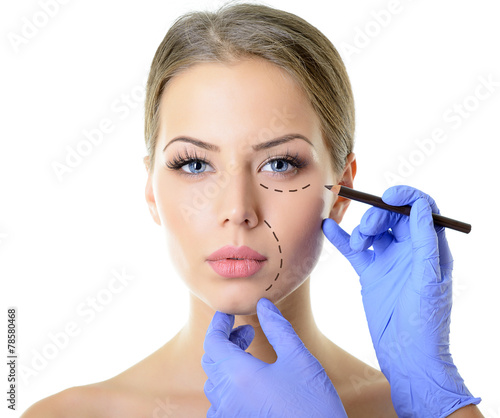 Beautiful woman ready for cosmetic surgery, female face with doc - 78580468