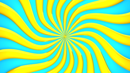 Abstract Yellow Wave On Blue Background