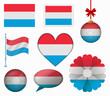 Luxembourg flag set of 8 items vector