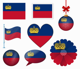 Liechtenstein flag set of 8 items vector