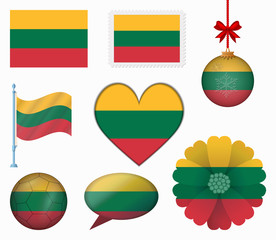 Lithuania flag set of 8 items vector