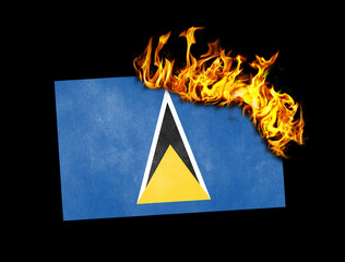 Flag burning - Saint Lucia
