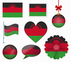 Malawi flag set of 8 items vector