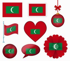 Maldives flag set of 8 items vector