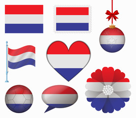 Netherlands flag set of 8 items vector