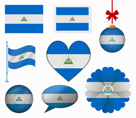 Nicaragua flag set of 8 items vector