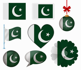 Pakistan flag set of 8 items vector