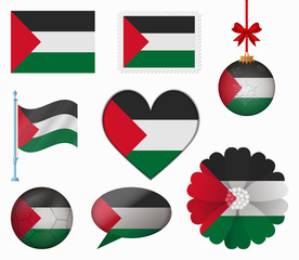 Palestine flag set of 8 items vector