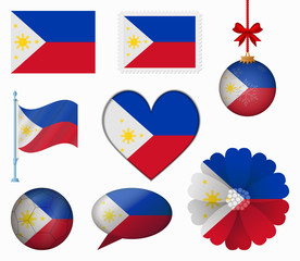 Philippines flag set of 8 items vector
