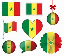 Senegal flag set of 8 items vector
