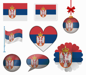 Serbia flag set of 8 items vector