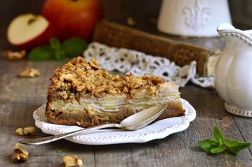 Apple pie with walnut and sugar glaze.